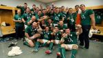 The Ireland team celebrate winning the RBS 6 Nations Championship in the dressing room 15/3/2014